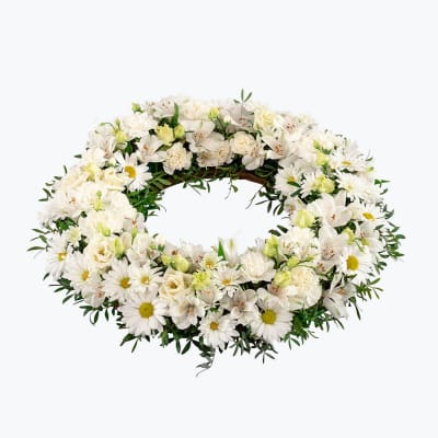 Funeral Wreath with ribbon: Order Flowers Online Interflora India