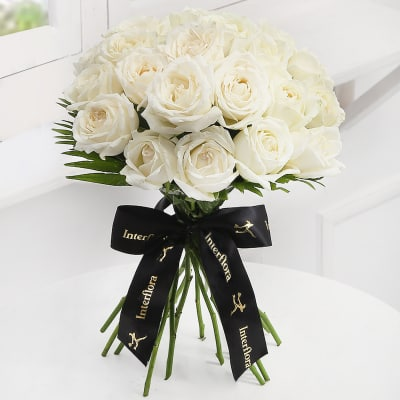 White flowers send white flowers online in india same day delivery heavenly 25 white roses hand tied mightylinksfo