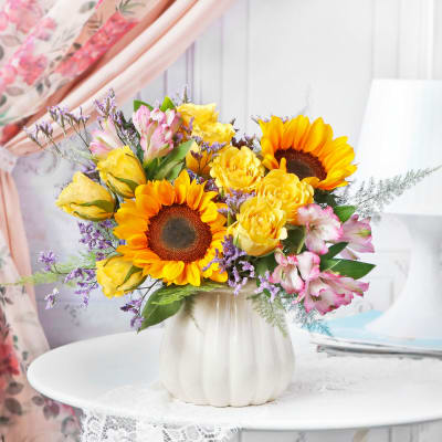 Luxe Floral Fountain in Vase for Mom