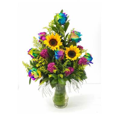 Rainbow arrangement with vase