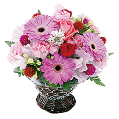 Seasonal Arrangement in Pink and Red