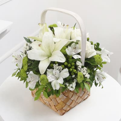 White flowers send white flowers online in india same day delivery white country garden basket arrangement mightylinksfo