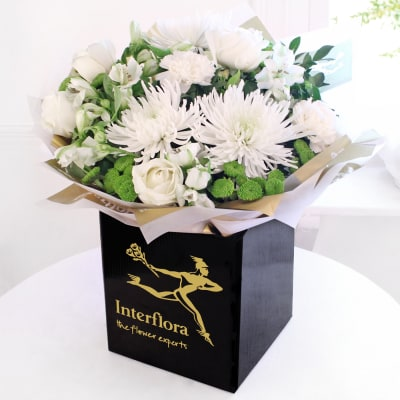 Baby flowers and gifts send newborn baby flowers online interflora white radiance hand tied negle Gallery