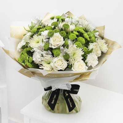 Baby flowers and gifts send newborn baby flowers online interflora white radiance hand tied extra large negle Gallery