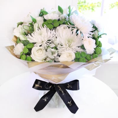 White flowers send white flowers online in india same day delivery white radiance hand tied large mightylinksfo