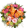 Beautiful colourful bouquet with butterfly