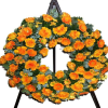 Wreath in orange with roses gerberas chryssis (with ribbon)
