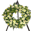 Wreath in white roses gerberas chryssis (with ribbon)