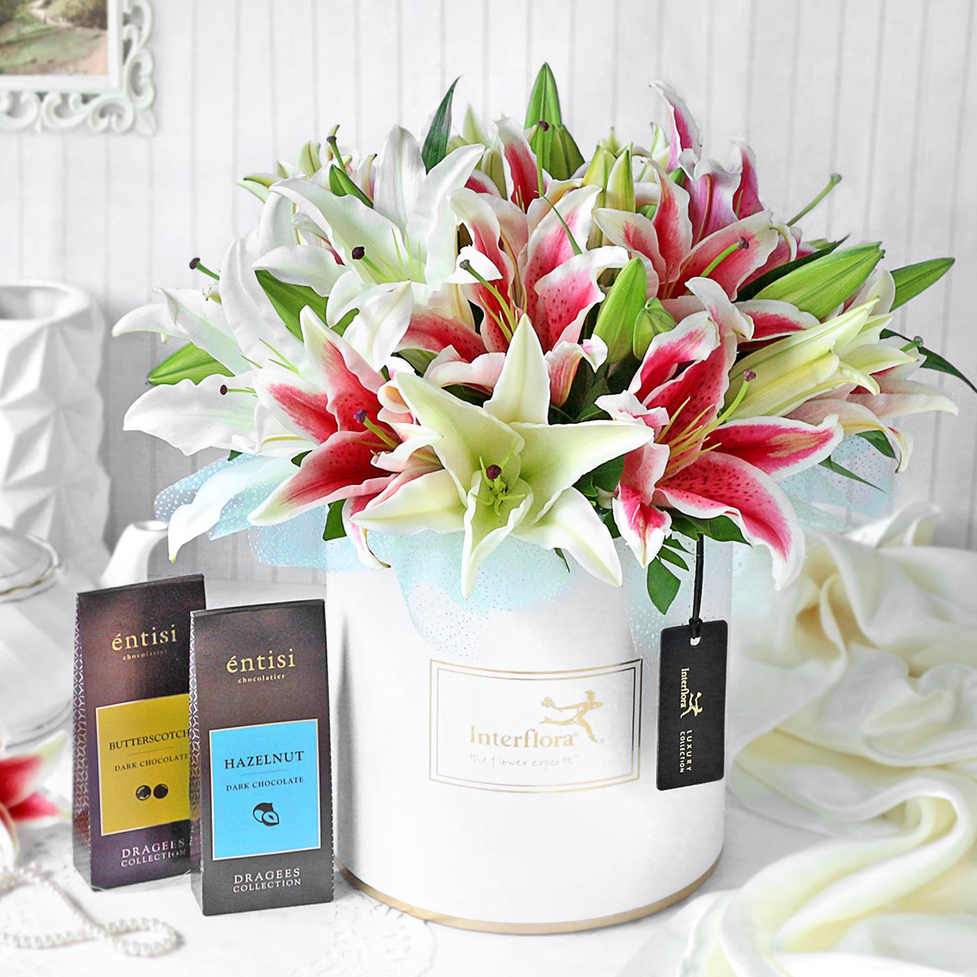 Luminous Llilies with Chocolates