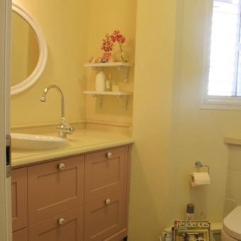 ארון בצבע פודרה בחדר הרחצה הכללי בדירה.