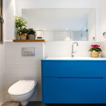 הארון בחדר הרחצה הכללי יוצר בגוון כחול התואם את הכורסא בסלון ויוצר תחושת המשכיות בבית.