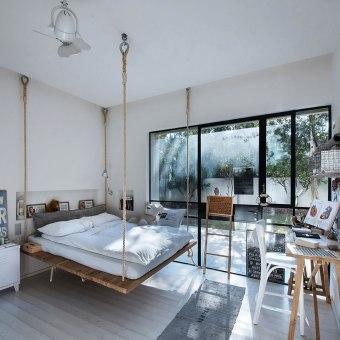 מיטת נדנדה על חבלים