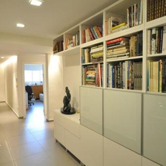 ספריה במסדרון עם חלל לפסל ותאורה צמודה לתיקרה