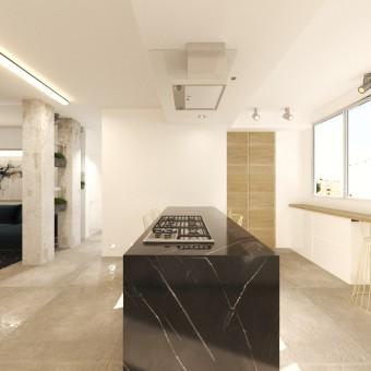 מטבח ממנו ניתן לראות גם את דלתות נישת הכביסה והאחסון שמתחת לבר שמתכבות עם השפה העיצובית של המטבח כולו.  שימוש בפורניר עץ אלון, שלייפלאק לבן ושיש שחור ספרדי .