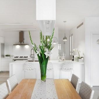 כיסאות בר מפלסטיק באי במטבח בעיצוב מודרני