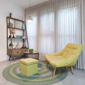 פינה צבעונית וכיפית בסלון
