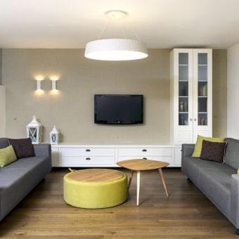 סלון בגוונים חמים עם ריצוף פרקט בסלון תוכננו 2 ספות מקבילות למפגשים חברתיים ומשפחתיים