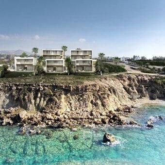 קומפלקס וילות בקפריסין - ממוקם של שפת מצוק בקו ראשון לים