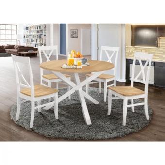 פינת אוכל עגולה מעץ מלא משולב כוללת שולחן ו-4 כסאות דגם שירן