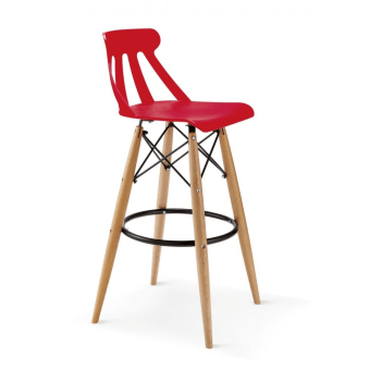 כסא בר רגלי עץ מושב פלסטיק 99924