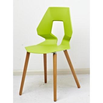 כיסא לפינת אוכל רגלי עץ מושב פלסטיק 11645