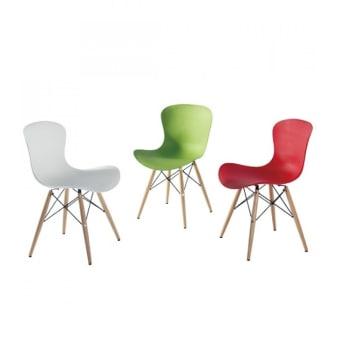 כסא פלסטיק רגליי עץ לפינת אוכל 19648