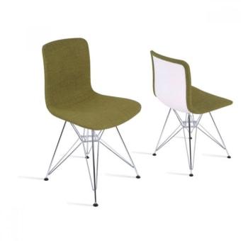 כיסא פלסטיק מושב מרופד רגלי מתכת לפינת אוכל/מסעדה רגלי מתכת 19649