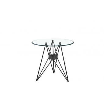 שולחן לפינת אוכל זכוכית רגלי מתכת קוטר 80 (54568)