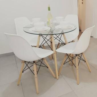 שולחן לפינת אוכל פלטה זכוכית רגלי עץ 132645