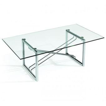 """שולחן קפה מזכוכית בעיצוב מרהיב. בעל מראה עכשווי עם קווים נקיים וקלאסיים. השולחן בעל זכוכית מחוסמת בעובי 10 מ""""מ. שלד מתכת מצופה ניקל. מידות: 120*65*41 ס""""מ   שולחן קפה 1.20"""