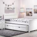 מיטה ברוחב וחצי דגם שחר וחצי עם מיטת חבר נגררת