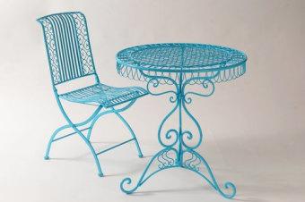 """שולחן מרקש ברזל   קוטר 70 מתאים לבחוץ חום/לבן/תכלת מק""""ט 30118"""