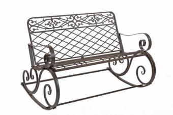 """ספסל ברזל נדנדה מעוצב מקורי חזק במיוחד  גובה:81 ס""""מ אורך:122 ס""""מ עומק:90 ס""""מ מתאים לבחוץ חום/לבן/ירוק מק""""ט:00586"""