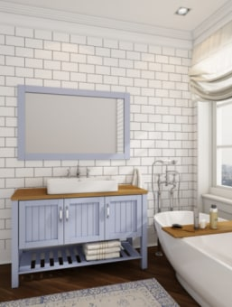 """ארון אמבטיה דיזיין 120  מידות : 120X46X75 ס""""מ  מחיר כולל משטח עץ וכיור מונח ומראה מסגרת עץ . צבע : תכלת אפשרות בצבע לבן/פיסטוק/תכלת /גריג'"""