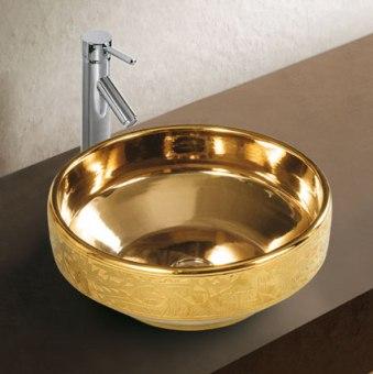 כיור אבן מונח בצבע זהב, איכותי ועמיד, תחזוקה פשוטה- קל לניקוי, ידידותי לסביבה