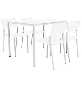"""דגם: """"מיה"""" רוחב שולחן: 75 ס""""מ צבע: לבן גובה שולחן: 74 ס""""מ חומר רגליים: מתכת עובי פלטת השולחן: 6 מ""""מ ריפוד הכסאות: פלסטיק גובה הכסא: 77 ס""""מ חומר בסיס השולחן: מתכת רוחב הכסא: 47 ס""""מ עומק הכסא: 40 ס""""מ"""