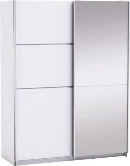 """ארון הזזה מעוצב עם דלת מראה מדגם FAST בגוון לבן.  לארון 5 מדפים רחבים בצבע אפור פשתן ומוטות תלייה.  גוון הפנימי של הארון בצבע אפור פשתן הארון מציע פתרון מושלם למגוון חללים וצורות אחסון  הארון עשוי מלמין איכותי מתוצרת אירופה משדרג כל חדר  מידות חיצוניות בס""""מ: ג' 203, ר' 153.6, ע' 60.1 רוחב המדף 74.2, עומק 50."""