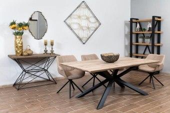 """חומר השולחן: פלטה MDF יצוק באיכות גבוהה, רגל ברזל שחורה.  מתאים לאירוח של 6-12 אנשים.  צבע שולחן: אלון מבוקע רגל ברזל שחורה.  הגדלה: השולחן מגיע עם אופציית הגדלה נוספת של 40 ס""""מ  בחירת צבע כיסאות - אפור או בז'  מידות :  מלבן 2.00/1.00 + פתיח של 40 ס""""מ גובה 76 ס""""מ.  כולל 6 כיסאות מעוצבים  אחריות 12 חודשים"""