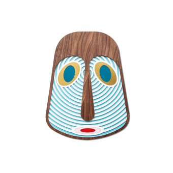 M.A.14 is part of our Modern African Collection. Inspired by the great tradition of the african masks and the inherent lack of realism in them I've created this modern take.  A handmade decorative wooden mask Inspired by colors, patterns and grids. Hang it on your office wall, living room or in the kids room, you can not go wrong with this artistic comic art.  All of our masks are hand painted, unique with their own character and just like us, humans, they have some imperfections but that's what makes them perfect.  Masks can be similar, but no 2 will ever be exactly alike.  This mask comes in 3 sizes for you to choose from Materials:  American Walnut, Veneer, MDF   All masks are colored with quality Molotow™ Premium colors for best UV- and weather-resistance. This item is handmade, please allow 6 - 10 business days to produce before shipping. The mask comes with a hook on the back for hanging.