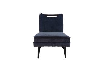 """כורסא בריפוד בד כחול. מסגרת מעץ מנגו, רגליים שחורות.  מידות: רוחב: 60 ס""""מ עומק: 70 ס""""מ גובה: 72 ס""""מ"""