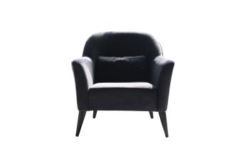 """כורסא בריפוד בד אפור כהה. רגלי מתכת בציפוי שחור.  מידות: רוחב: 88 ס""""מ עומק: 82 ס""""מ גובה: 84 ס""""מ"""