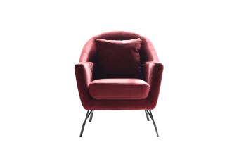 """כורסא בריפוד בד בורדו רגלי מתכת בציפוי שחור.  מידות: רוחב: 78 ס""""מ עומק: 83 ס""""מ גובה: 90 ס""""מ"""