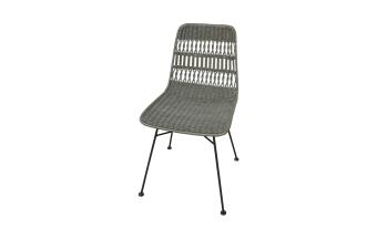 """כסא בעל מושב ראטן חום. רגליים בצבע שחור.  מידות: רוחב: 53.8 ס""""מ עומק: 43.5 ס""""מ גובה: 84.6 ס""""מ"""