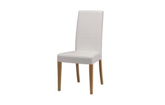 """כסא בריפוד דמוי עור לבן. רגל עץ בוק מלא בגוון טבעי.  מידות: רוחב: 49 ס""""מ עומק: 47 ס""""מ גובה: 98 ס""""מ"""