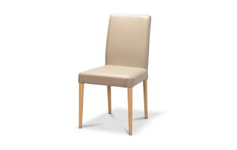 כסא בריפוד דמוי עור בגוון טאופ. רגל בוק עגולה בגוון אלון. תוצרת איטליה.