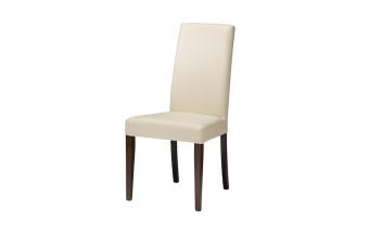 """כסא בריפוד דמוי עור. רגל אגוז.  מידות: רוחב: 48.5 ס""""מ עומק: 42.5 ס""""מ גובה: 99.5 ס""""מ"""