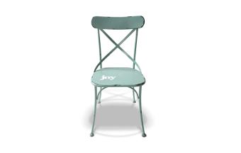 """כסא מתכת בצבע תכלת.  מידות: רוחב: 45 ס""""מ עומק: 46 ס""""מ גובה: 86 ס""""מ"""
