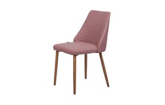"""כסא בריפוד ורוד. רגל אלון.  מידות: רוחב: 57.5 ס""""מ עומק: 49.5 ס""""מ גובה: 85.5 ס""""מ"""