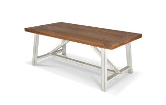 """שולחן אוכל בעל פלטת עץ בגוון טבעי. רגל עץ בצביעת ווש לבן.  מידות: אורך: 200 ס""""מ רוחב: 100 ס""""מ גובה: 76 ס""""מ הגדלה: 2*50 ס""""מ"""