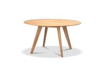 """שולחן אוכל בעל פלטה עליונה עשויה פורניר אלון. מסגרת ורגל עץ אלון מלא.  מידות: קוטר: 140 ס""""מ"""